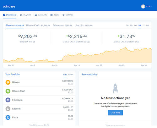 Dashboard Coinbase